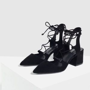 Zara black suede lace up pointed toe heels 36
